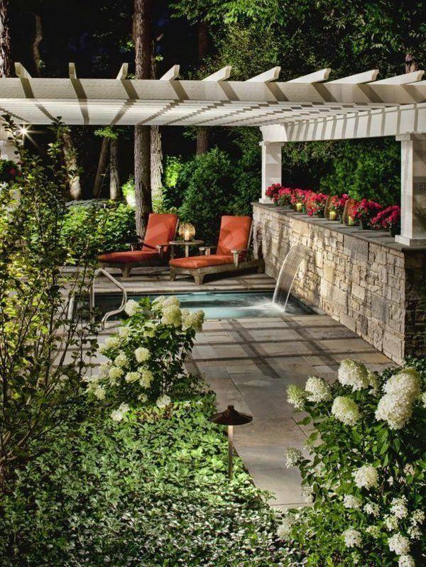 terrassengestaltungsideen liegen und wasserfall Garten - garten steinmauer wasserfall