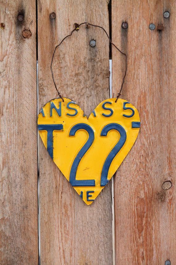 handmade wall decor hanging heart made from Kansas license plate ...