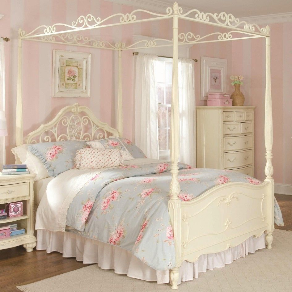 white four poster bed with floral sheets shabby chic | Canopy bedroom sets, Shabby chic bedroom furniture, Girls bedroom furniture