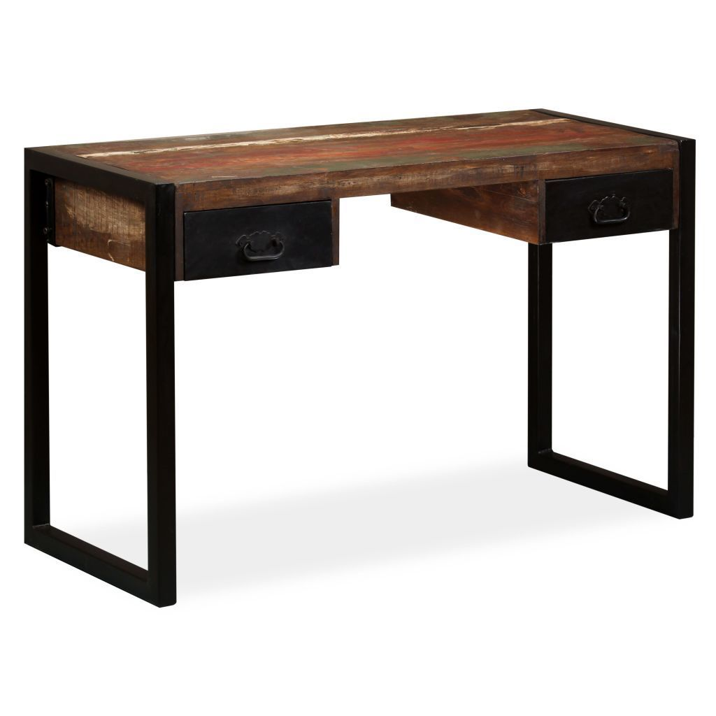H4home Industrial Office Desk With 2 Drawers Solid Reclaimed Wood H4home Furnitures Industrial Style Desk Office Desk Reclaimed Wood Desk