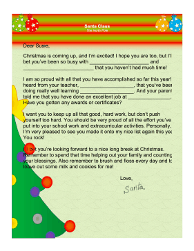 This Free Printable FillInTheBlank Letter From Santa Claus