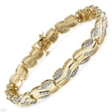 Diamonds Gold Plated Silver Unisex Bracelet 0.88 ctw - Bracelets - Jewelry at Viomart.com