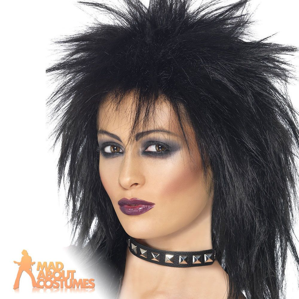 Ladies Black Silver Diva WIG Halloween Gothic Straight Bob Fancy Dress Accessory