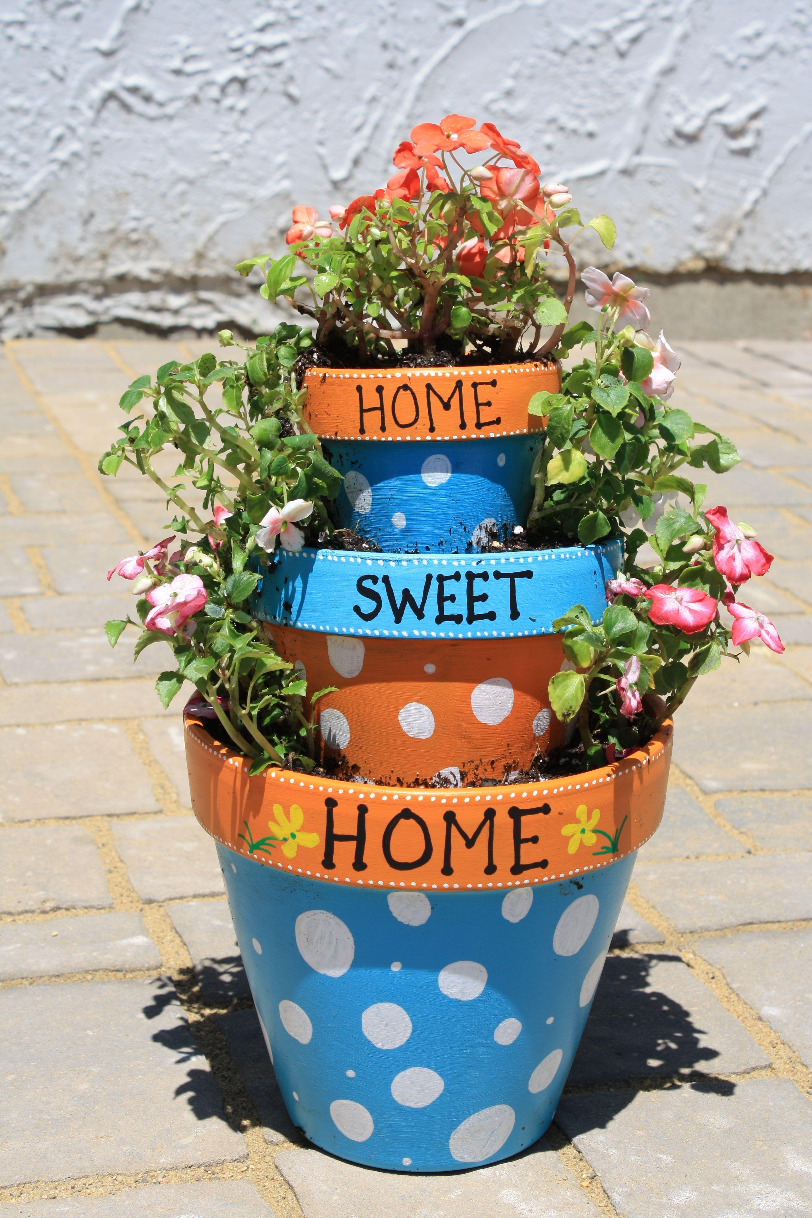 tiered terracotta pots