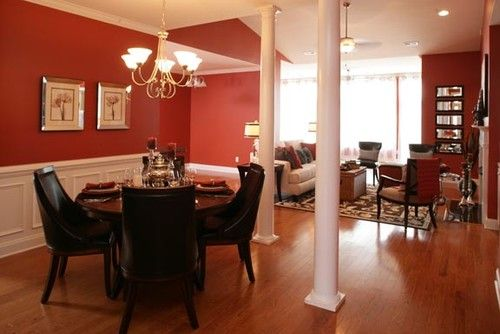 Lovely Red Paint Color For Dining Room And Living Area Open Each Other, Fabulous  Chandelier,