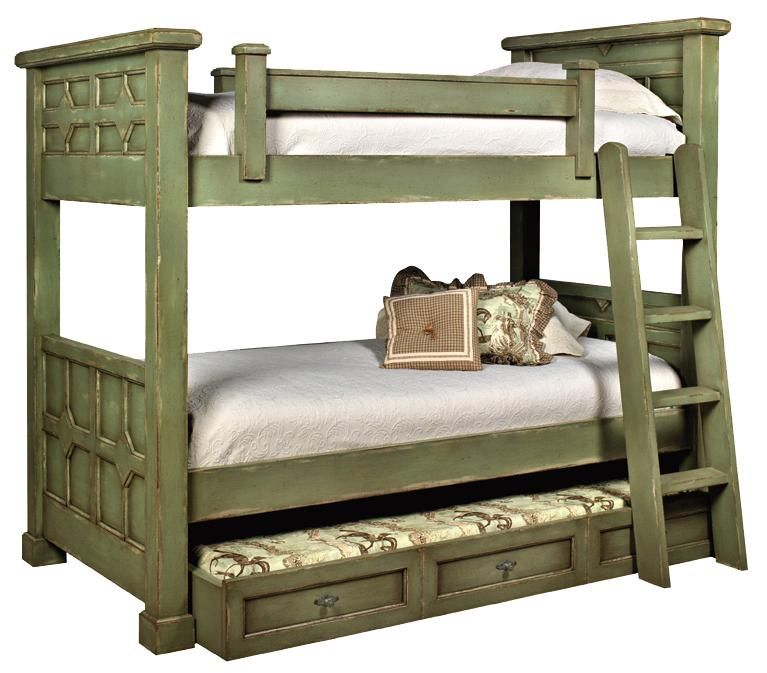 Custom Design Solid Wood Beds Kristina Wood Bunk Bed With Trundle By