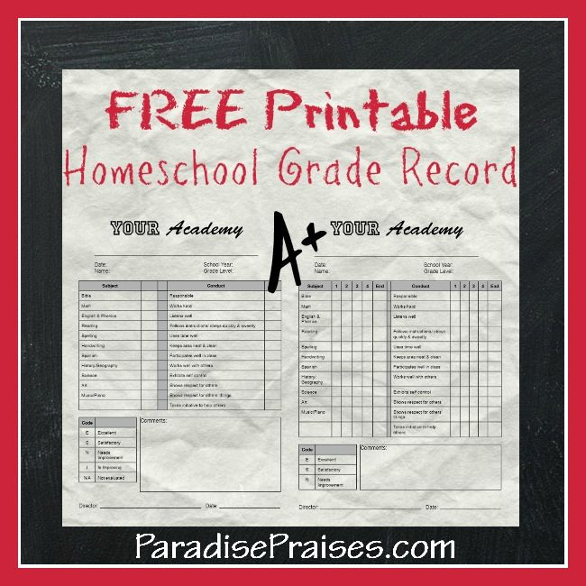 Free Printables for Homeschool \ Church Use Homeschool, School - homeschool report card template