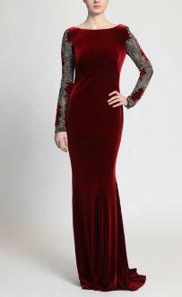 18dc86577c381 Badgley Mischka Long Sleeve Ruby Red Velvet Evening Gown EG2507 ...