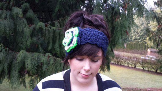 Knitted Seattle Seahawks Headband by Littlebitofknit on Etsy, $8.00