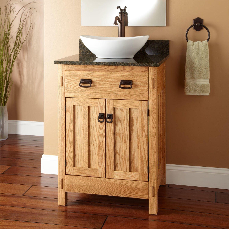 24 Mission Hardwood Vessel Sink Vanity With Images Vessel