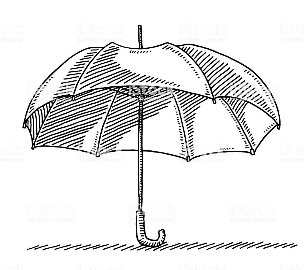 Hand Drawn Vector Drawing Of An Open Umbrella Black And White Sketch Umbrella Drawing Umbrella Black And White Drawing