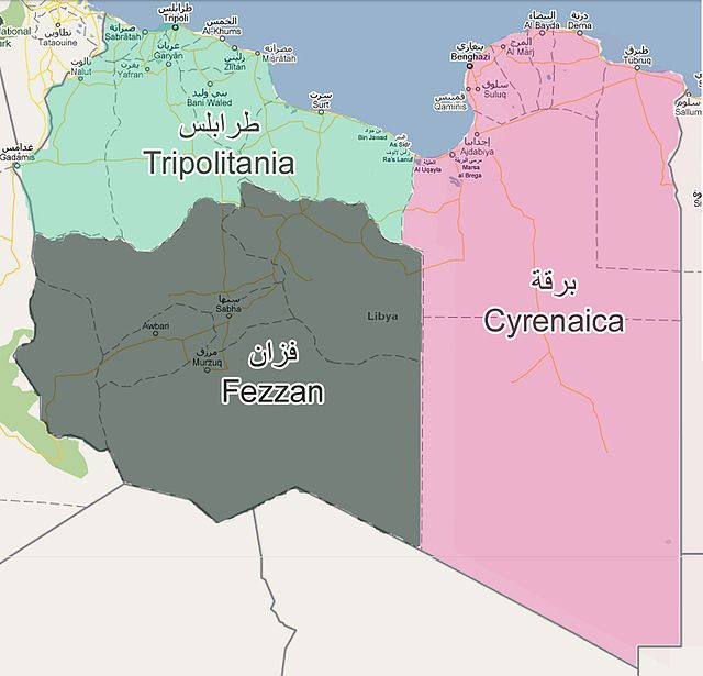 Map Of The Three Regions Of Libya Cyrenaica Tripoli Fezzan - Where is tripoli