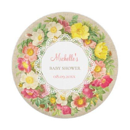 sc 1 st  Pinterest & Vintage Floral Baby Shower Or Birthday Paper Plate