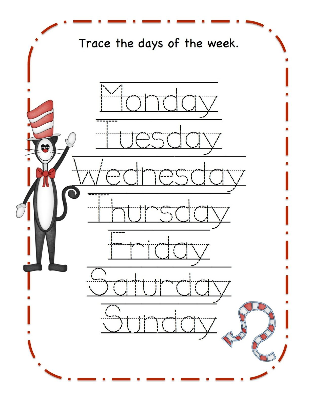 Preschool Printables That Cat Printable Seuss Days Of The Week