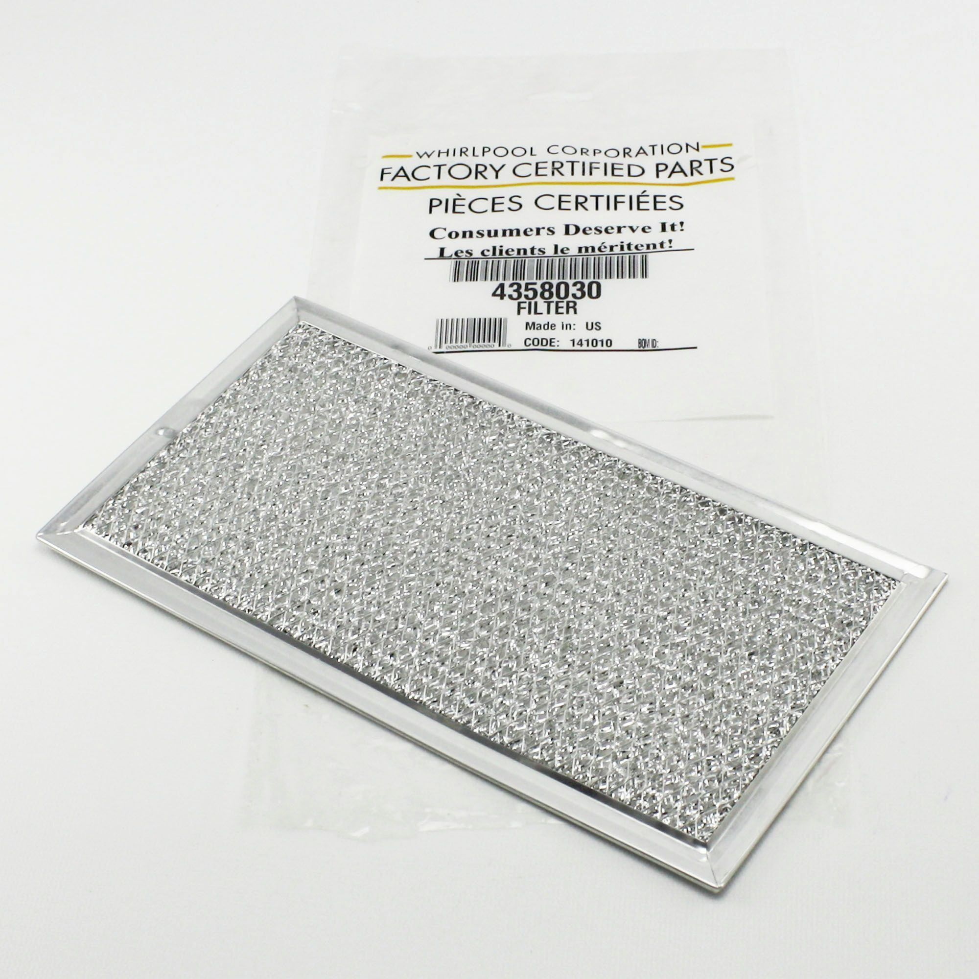 WP4358030 For Whirlpool Microwave Grease Filter Filters