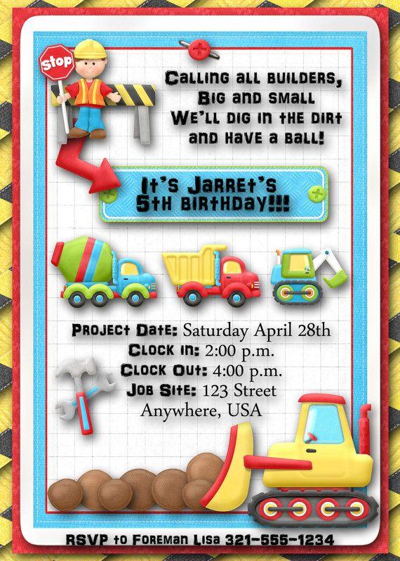 Construction Birthday Party Invitation by DecidedlyDigital on Etsy, $15.00