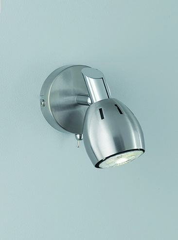 SPOT9001 Tivoli 1 Light Wall Spotlight In Satin Nickel Chrome Switched With Toggle Switch Supplied