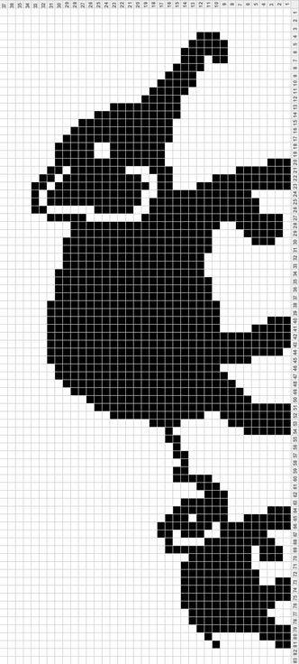 233 L 233 Phant 2 Grille Point De Croix Crochet Elephant
