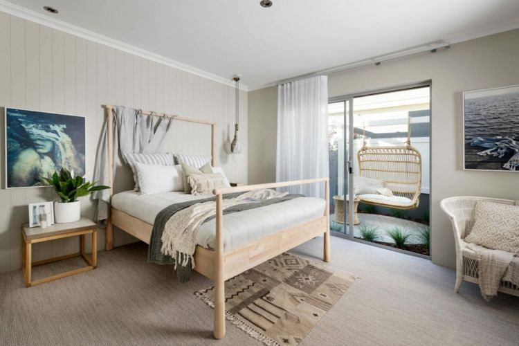 Schlafzimmer Teppichboden ~ Terrasse schlafzimmer teppich wandgestaltung holz grauer