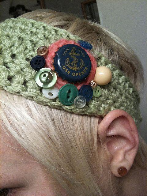 Diadema con botones | Crochet y otras formas de tejer | Pinterest ...