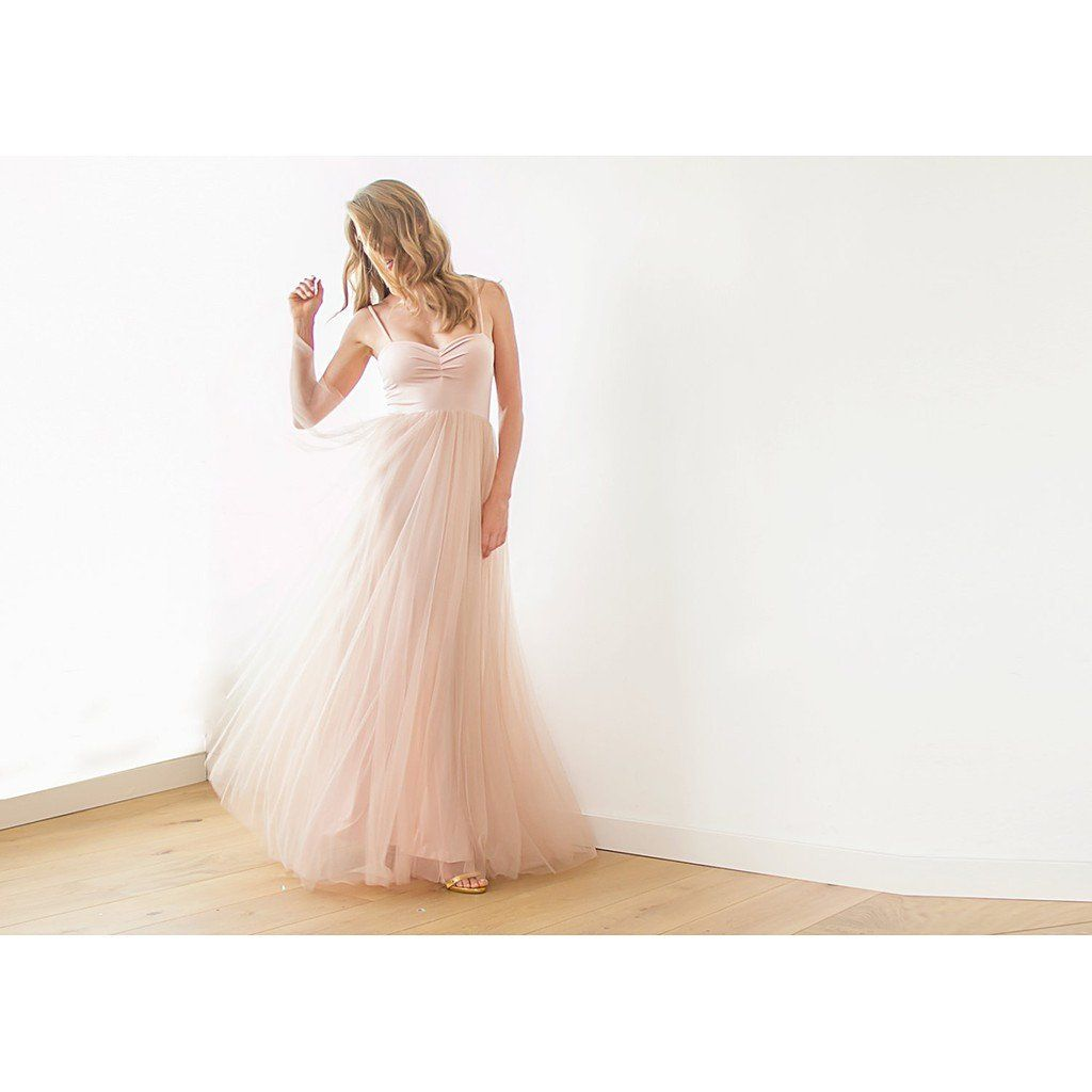 Blush pink or Ivory maxi tulle ballerina gown | Cas, Pink and Maxis