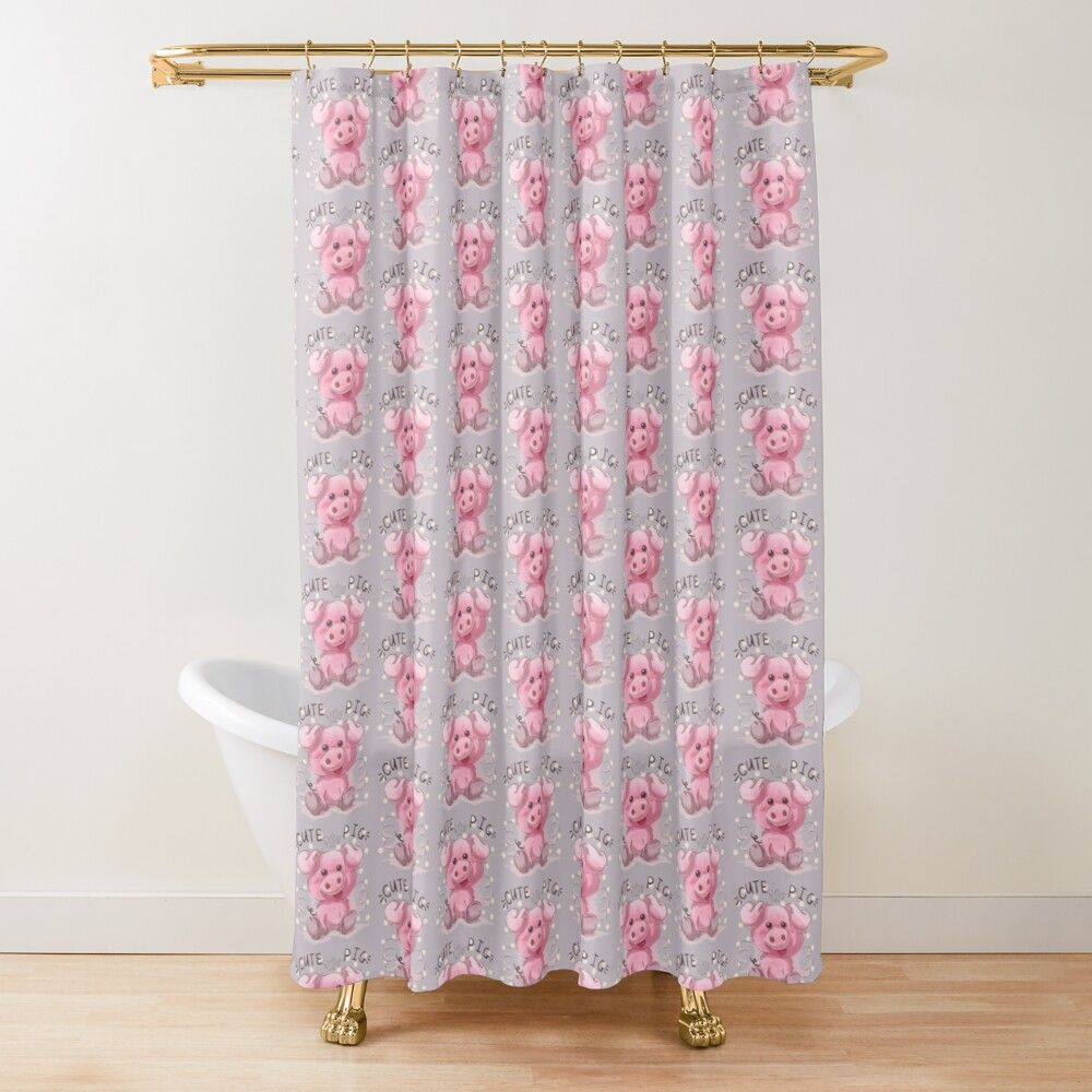 Cute Pig New Design Shower Curtain By Hstyel In 2020 Cute Pigs