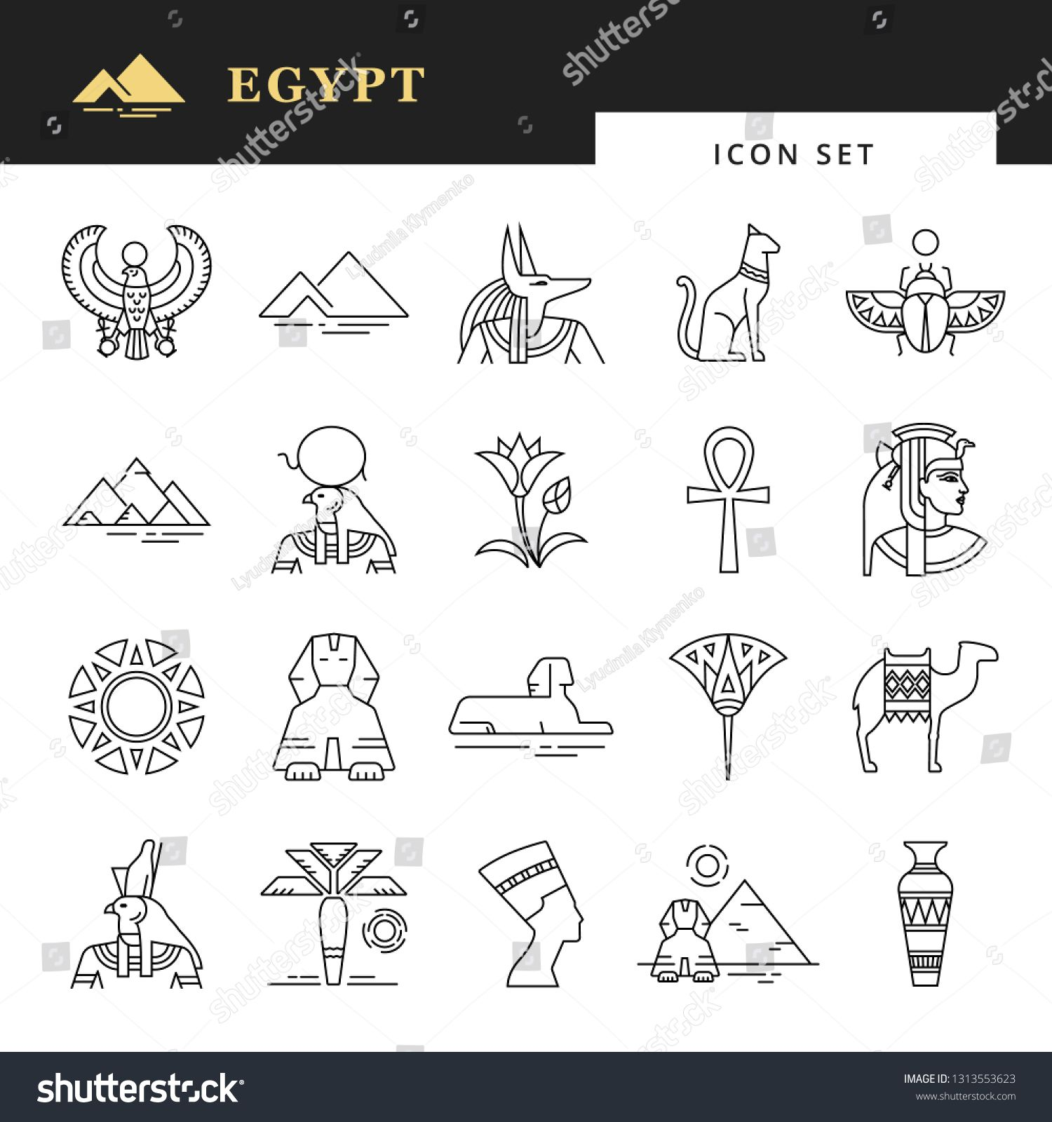 Classic Elements Of Egypt Egyptian Icon Set For A Logo