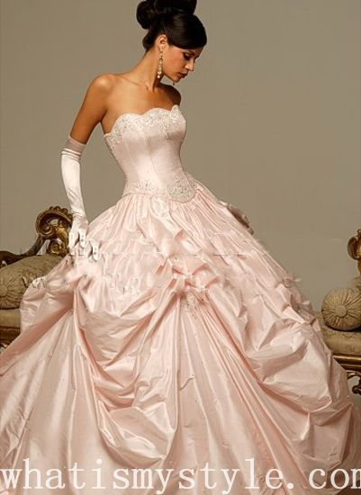 Light Pink Ball Gown Wedding Dress