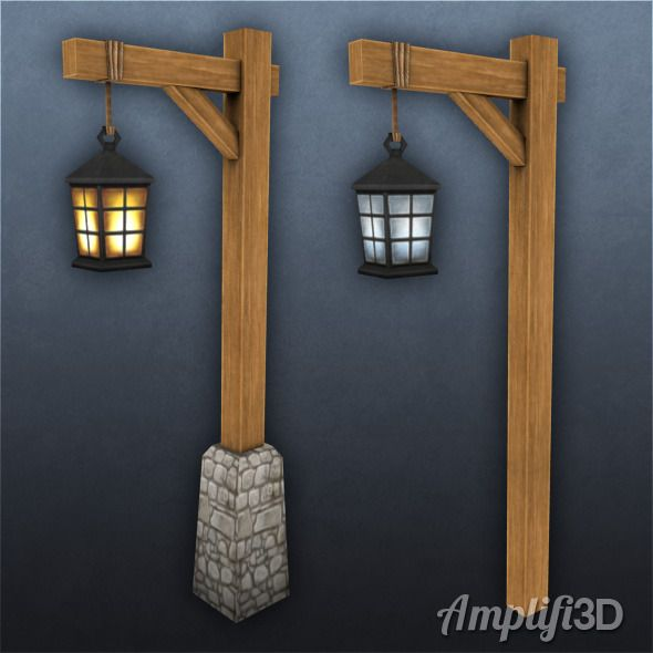 Wood And Stone Exterior Light Post