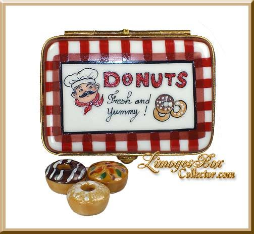 Box of Gourmet Donuts Limoges box by Beauchamp, www.LimogesBoxCollector.com, Limoges Box Specialists, gifts for her, collectible Limoges boxes, limoges porcelain gifts