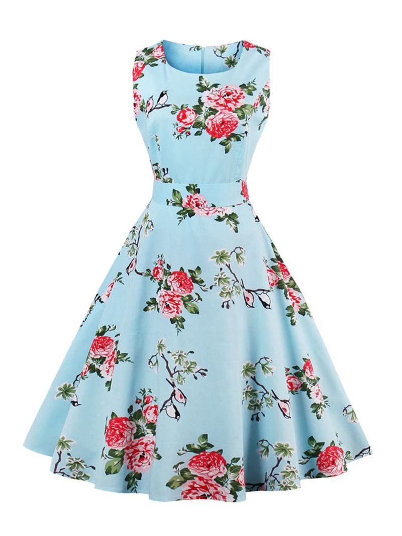 b817f1743e Random Florals Bow Tie Back Circle DressFor Women-romwe