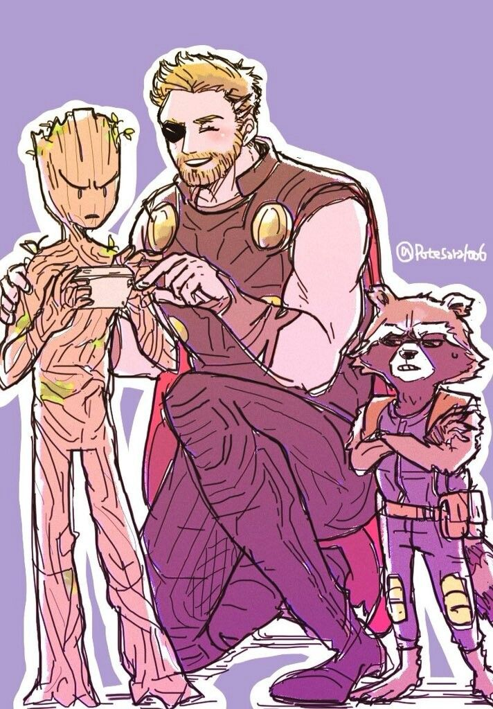 Videogames Groot Thor Rocket Avengers Infinity War Guardians Of The Galaxy Cr Potesara1 Avengers Avengers Infinity War Marvel Avengers Assemble