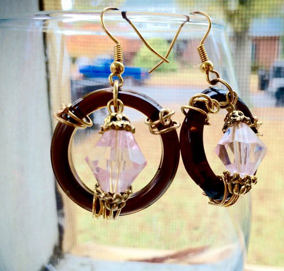 Glass Pendant Earrings by VintageRehabBoutique on Etsy