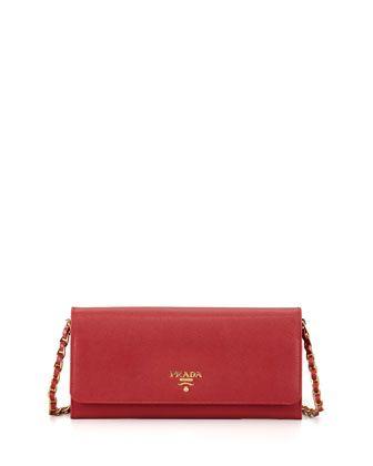 5b6061d431dc Saffiano Wallet on a Chain Red (Fuoco) | Birthday Wish List | Prada ...