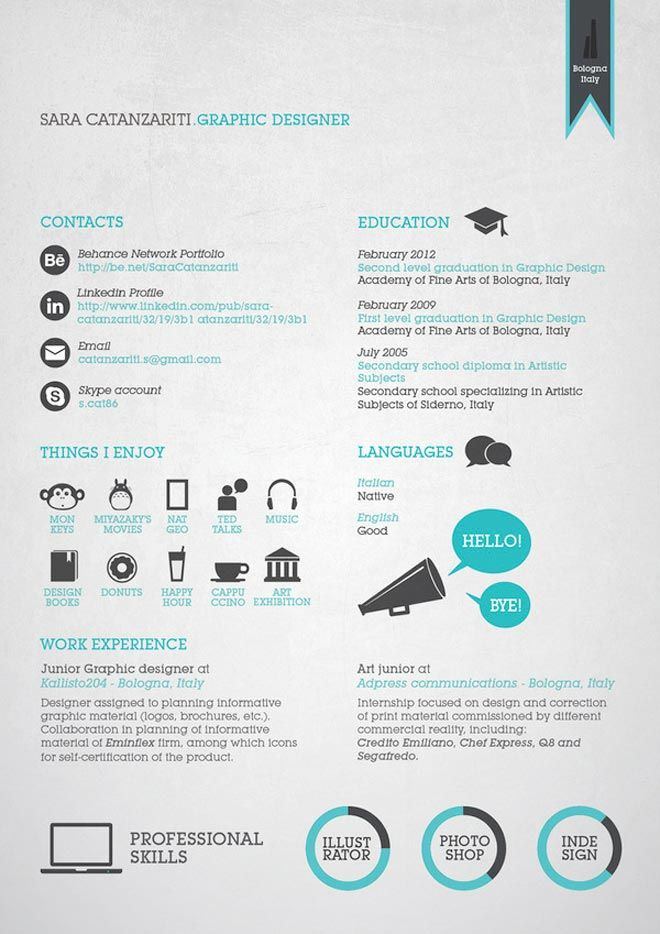 Cool CV Career Pinterest Creative resume templates, Simple - example of simple resume for job application