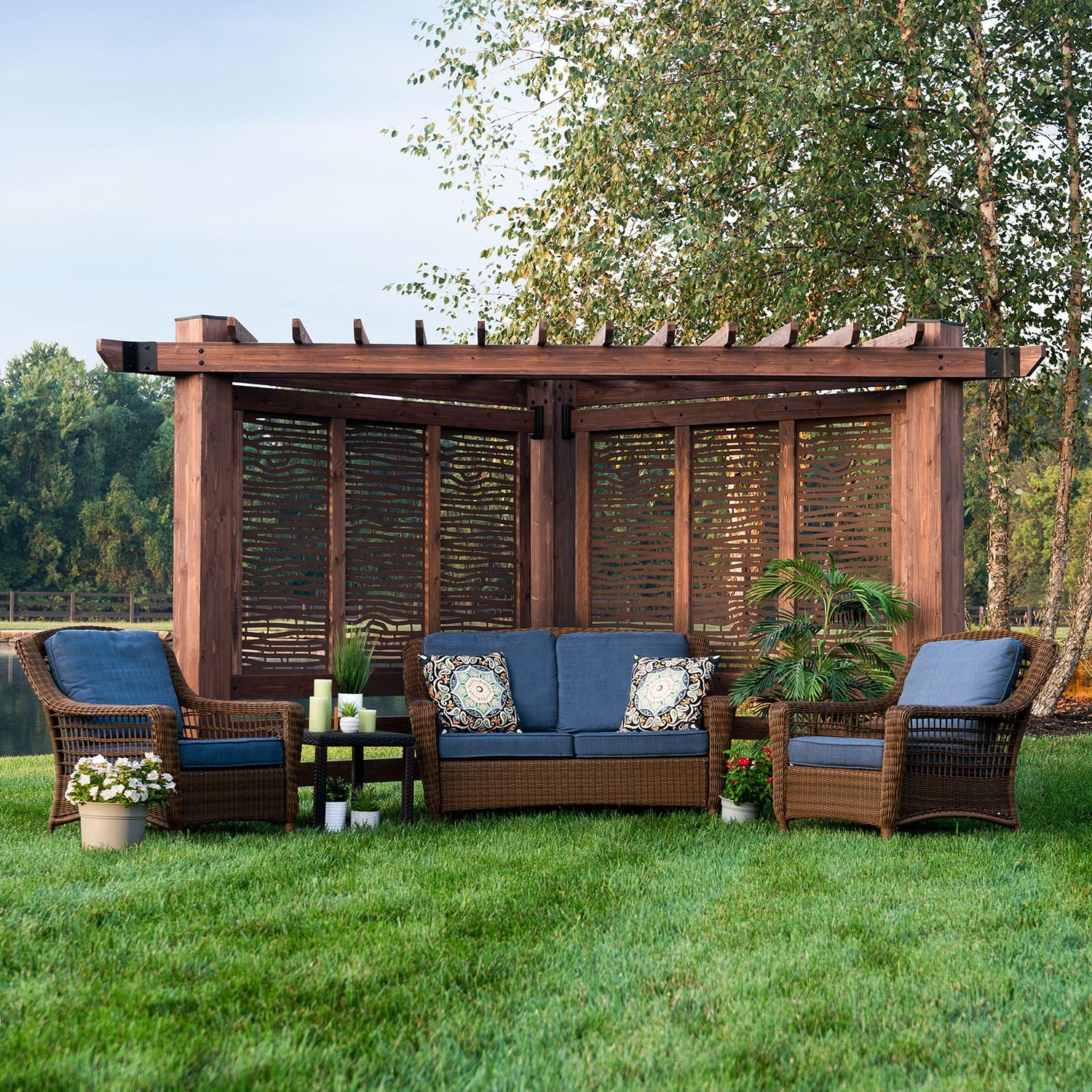 Backyard Discovery Cedar Cabana Pergola With Decorative Privacy Panels Bamboo Sam S Club In 2020 Backyard Structures Backyard Backyard Projects
