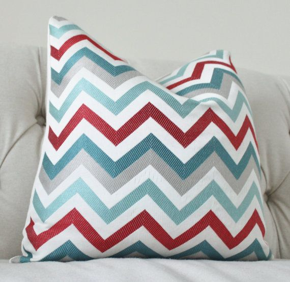 35 00 Designer Pillow Cover Modern Turquoise Aqua Teal Red Grey