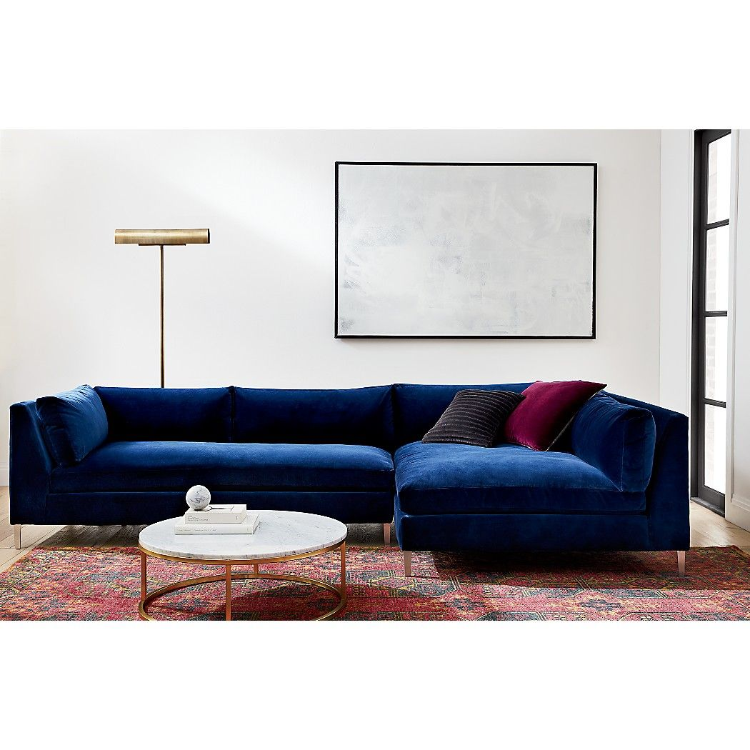 Decker 2 Piece Navy Blue Velvet Sectional Sofa Reviews In 2020