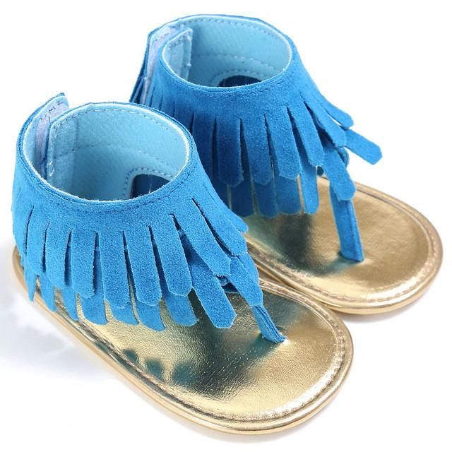 13f3617ace79 Baby Girl s Fringe Tassel Leather Suede Thong Sandals