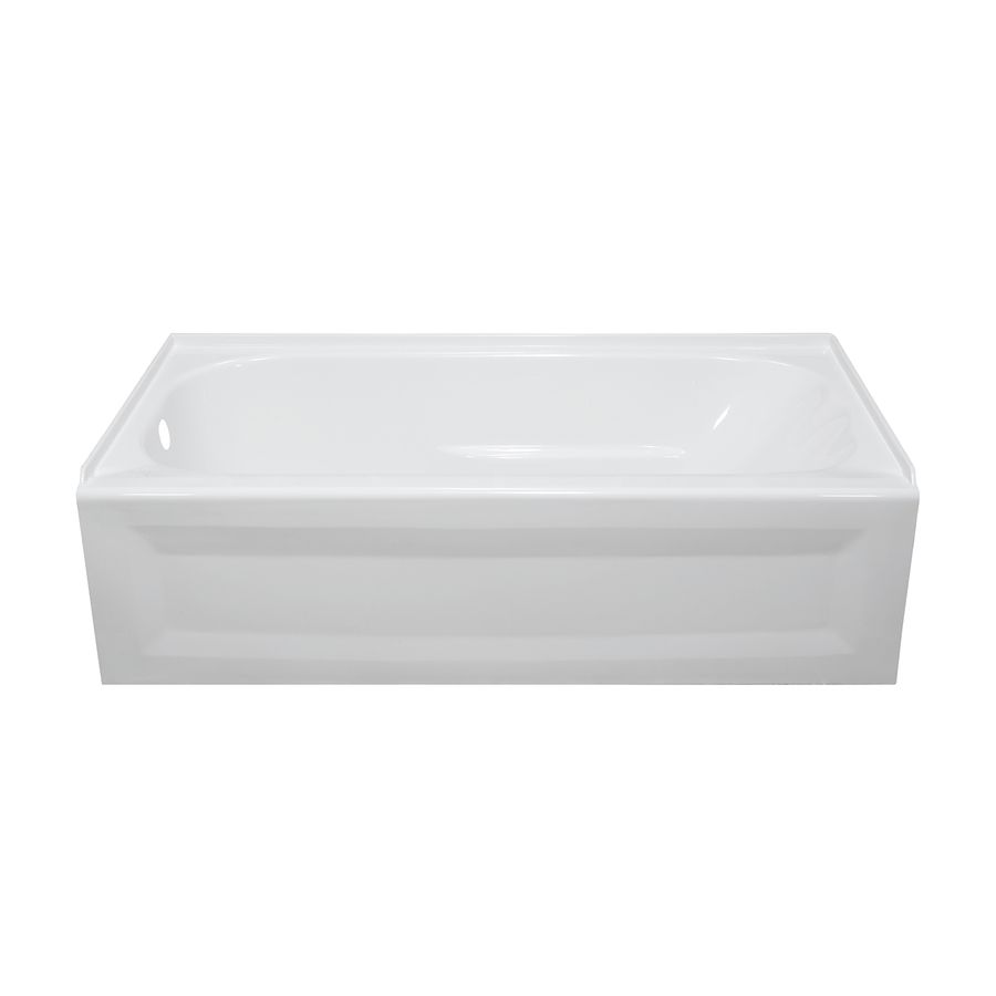 Style Selections 53 875 In White Acrylic Skirted Bathtub With Left