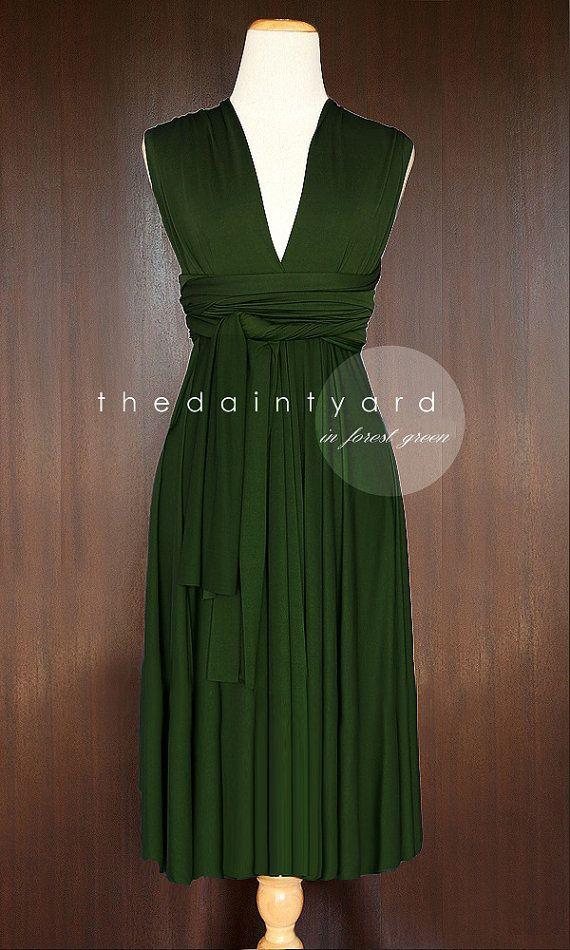 c922e8e19ec90 TDY Forest Green Short Straight Hem Infinity Dress Multiway ...