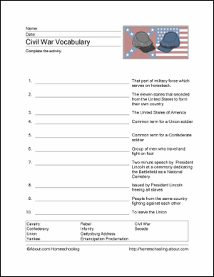 Civil War Wordsearch, Vocabulary, Crossword, and More: Civil War Vocabulary