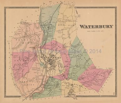 Town Waterbury Connecticut Antique Map Beers 1868 ...
