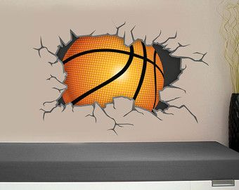 Basketball Wall Decal Breaking Through Bursting By SnappyPrinting