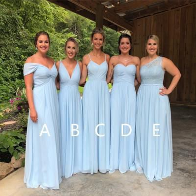 Light Blue Chiffon Bridesmaid Dresses, Cheap Long Bridesmaid Dresses, B27 from Tidedress