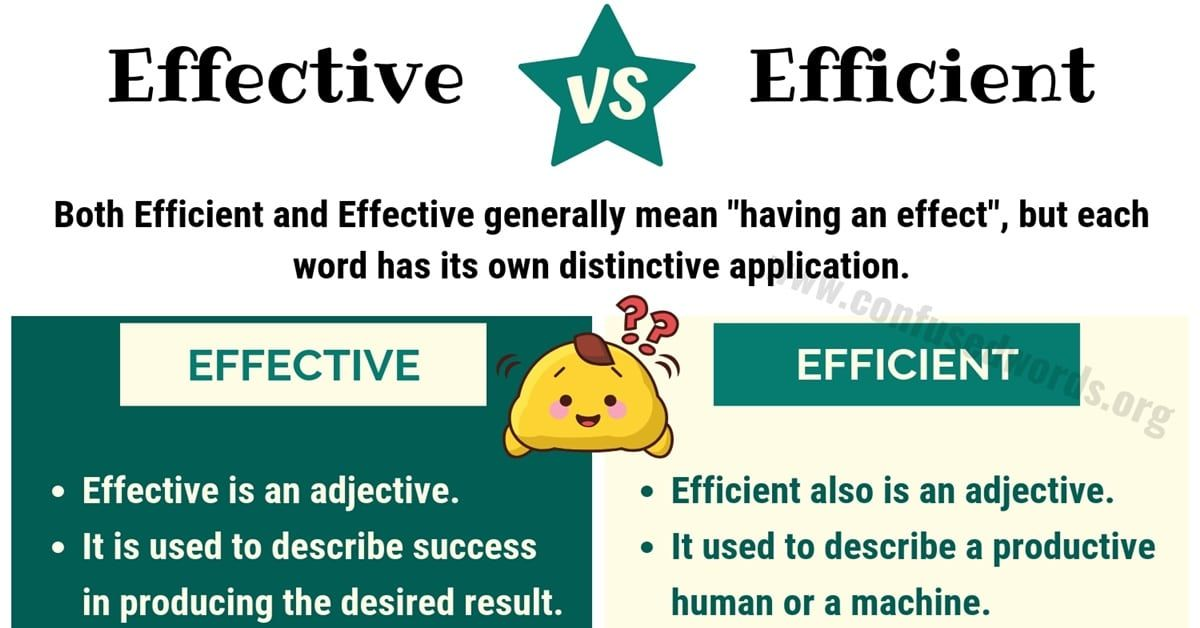EFFECTIVE vs EFFICIENT!!! What is the Difference between Efficient vs Effective? EFFECTIVE vs EFFICIENT How to us… in 2020   Confusing words ...