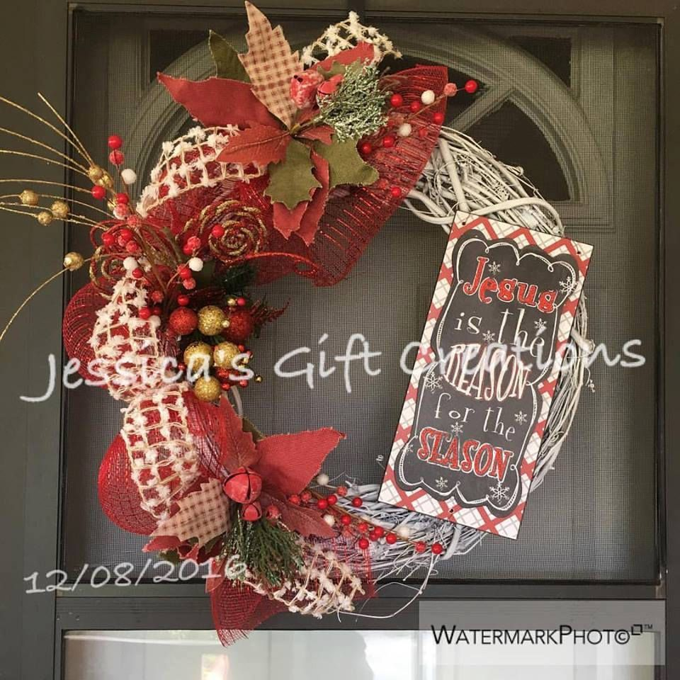 Ready To Ship Jesus Christmas Wreath/Grapevine Wreath/Front Door Wreath/Holiday  Decor