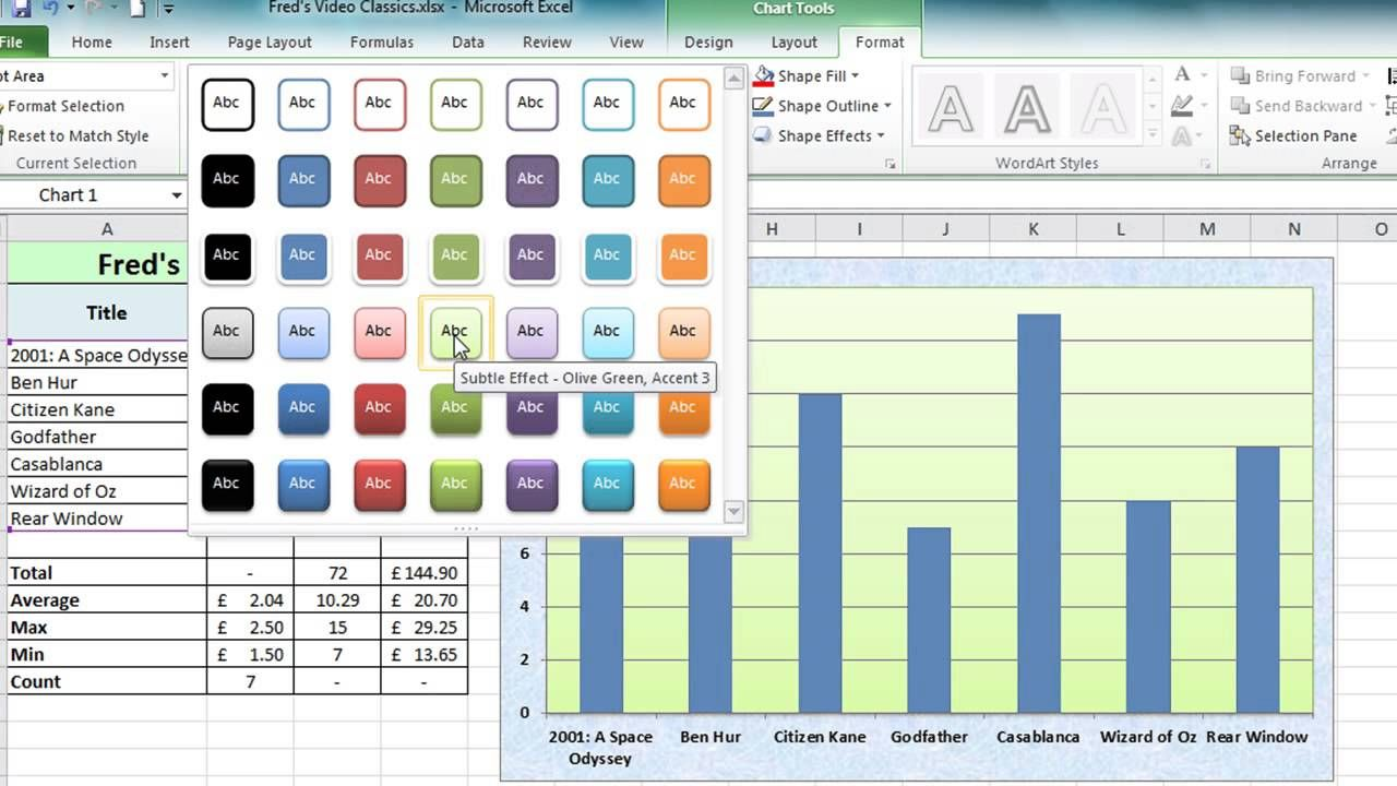 microsoft excel charting