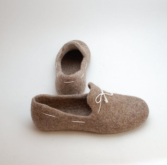 Felted wool loafers cappuccino with white laces handmade natural organic wool slippers