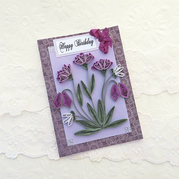 Birthday card paper quilling paper quilled card purple lavender birthday card paper quilling paper quilled card purple lavender lilac paper mightylinksfo